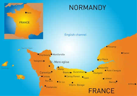 Vector color map of Normandy coast Vector