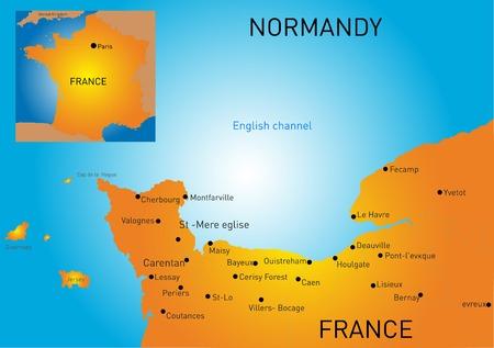 corsica: Vector color map of Normandy coast