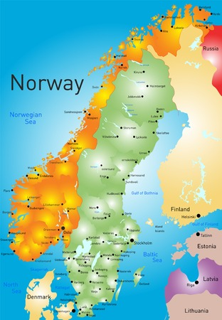 kristiansand: Vector color map of Norway country