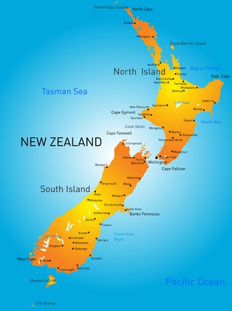 Vector color map of New Zealand country Vector