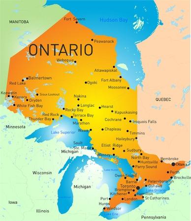 ontario: Vector colore mappa di Ontario Province