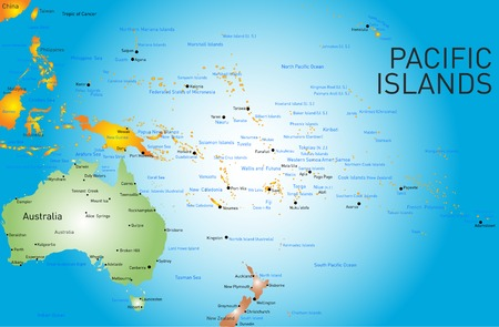 Vector color map of pacific islands   イラスト・ベクター素材