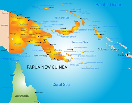 papua: Vector color map of Papua New Guinea country