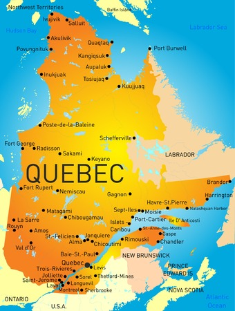 quebec: Vector color map of Quebec Province
