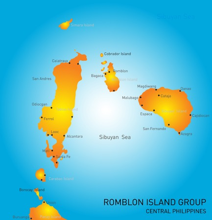 Vector color map of Romblon Island group Illustration