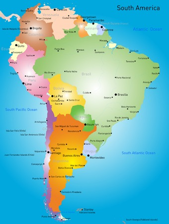 latin: Vector color map of South America Illustration