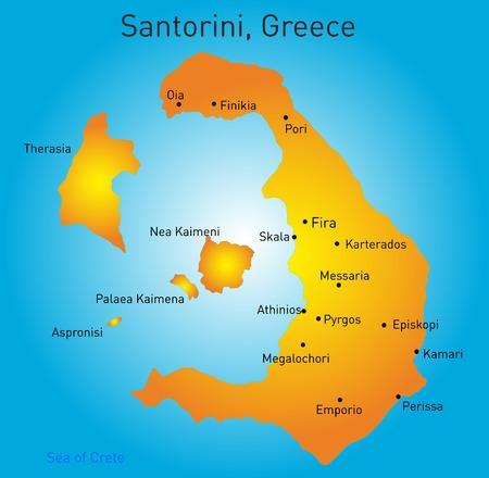 Vector color map of Santorini , Greece