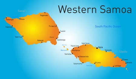 samoa: Vector color western samoa map