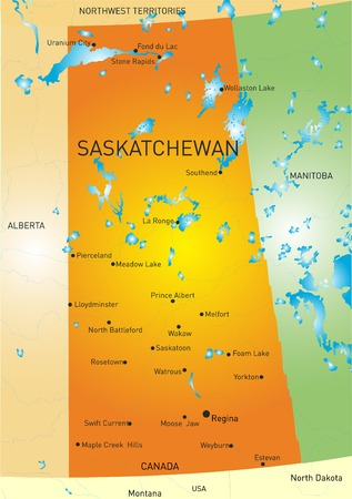 lake winnipeg: Vector color map of Saskatchewan province Illustration