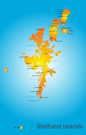 leeds: Vector color map of Shetland Islands Illustration