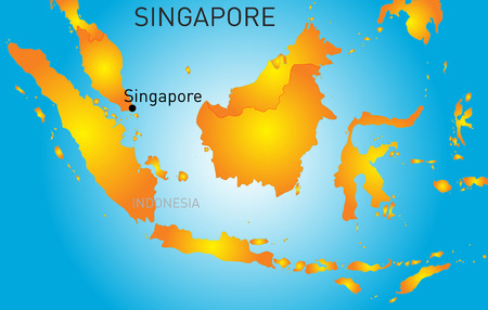 lake district: Vector color map of Republic of Singapore