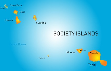 polynesia: color map of society island