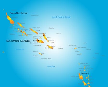 easter island: color map of Soloman island Illustration