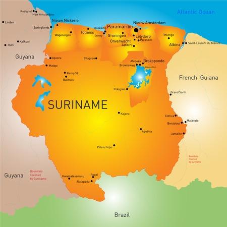 suriname: color map of Suriname