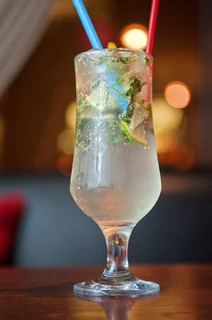mohito: non-alcoholic mohito cocktail at table