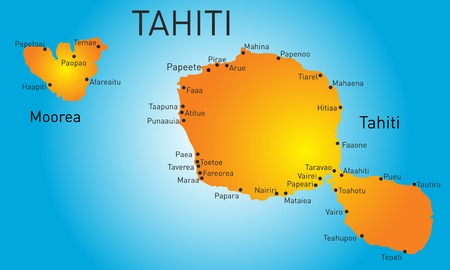 Vector color map of Tahiti Illustration