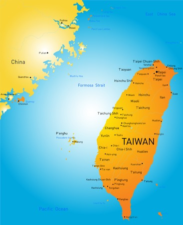 Vector color map of Taiwan Vector