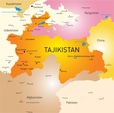 landlocked country: Vector color map of Tajikistan Illustration