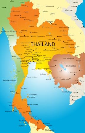 Vector kleur kaart van Thailand