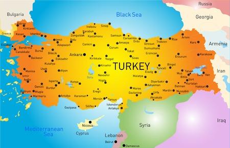 Vector kleur kaart van Turkije Stock Illustratie