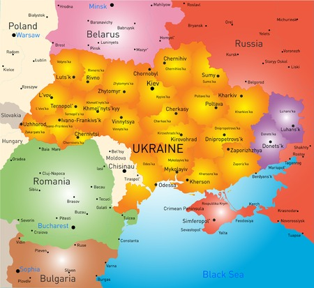 crimea: New vector color map of Ukraine without Crimea and selected Donesk and Lugansk regions Illustration