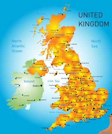 ireland cities: Vector color map of United Kingdom