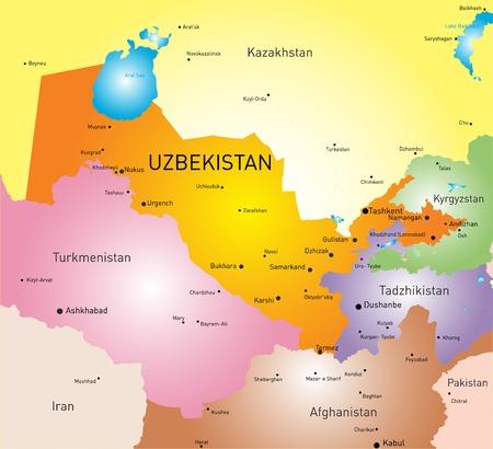 oezbekistan: kaart van Oezbekistan Stock Illustratie