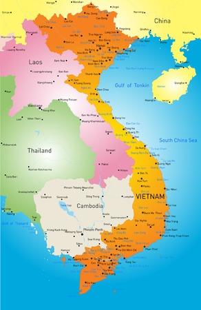 color map of Vietnam Vettoriali