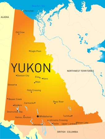 territories: Yukon province color map Illustration