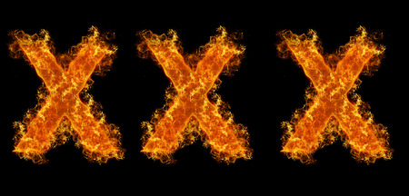 raster sex: XXX flames on black background Stock Photo
