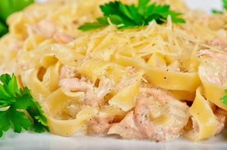 alfredo: Pasta with shrimps sauce closeup Stock Photo