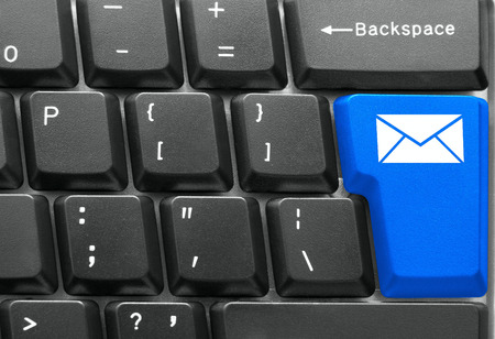 Close-up of Computer keyboard,  with blue Mail key photo