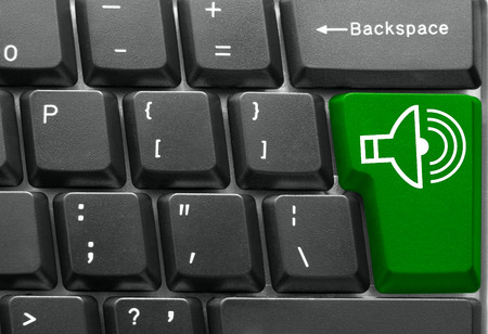 Close-up of Computer keyboard,  with Play key photo