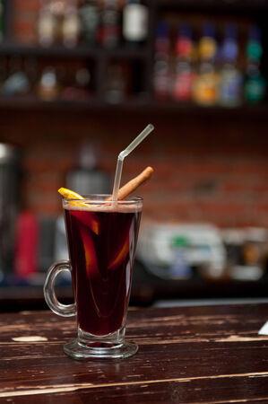 photo of mulled wine at bar photo