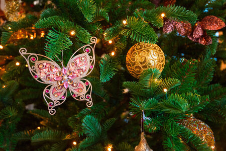 Christmas tree decoration closeup for New year background photo
