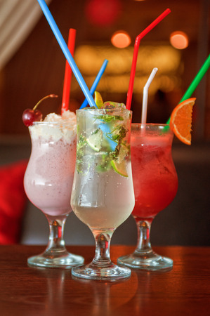mohito: Set of three healthy nonalcoholic cocktails berries and classic mohito
