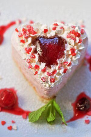 tasty heart shaped valentine cake photo