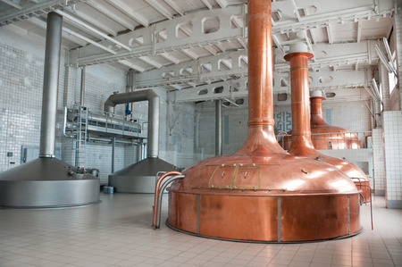 Brewing production - metal beer tanks photo