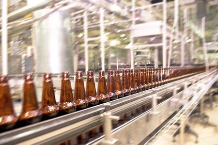 manufacturing plant: Beer bottles on the conveyor belt