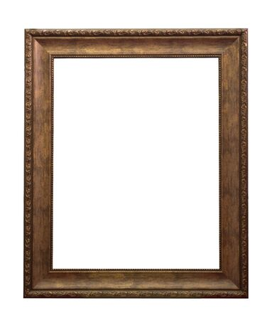 gold picture frame: wooden frame isolated on a white