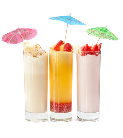 nonalcoholic: Set of three healthy nonalcoholic cocktails from berries banana and ice cream Stock Photo