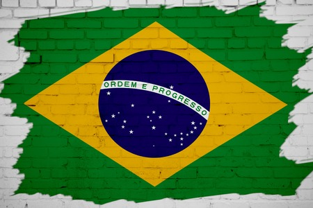 brasil: Brasil flag painted on white brick wall texture background Stock Photo