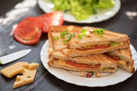 Sandwich au fromage à la tomate et la laitue verte Banque d'images - 41721363