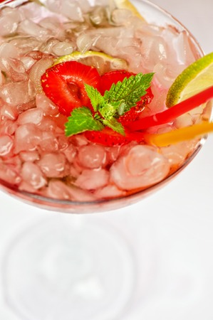 mohito: Strawberry mohito cocktail close up