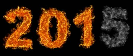 fading: Fading Year 2015 text on fire