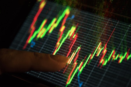 stock market data: At screen phone finance statistic