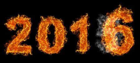 fading: Fading year of twenty fiveteen and new twenty sixteen year text on fire