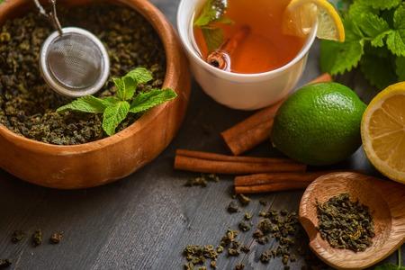 stick of cinnamon: tea composition with cinnamon sticks, lemons