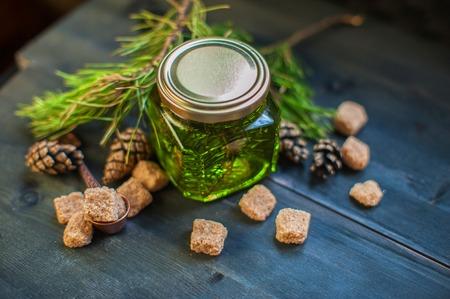 prophylactic: Fir tree bump jam on wooden background