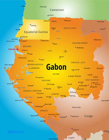 zaire: color map of Gabon country